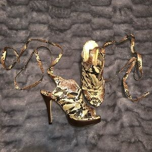 Snakeskin heels that tie around leg/ankle